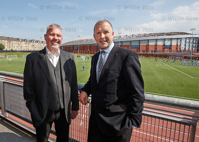 SFA Performance Chief Brian McClair with SFA Chief Exec Stewart Reagan at Lesser Hampden to assess the new intake of performance school kids