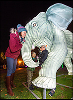 BNPS.co.uk (01202 558833)<br /> Pic: PhilYeomans/BNPS<br /> <br /> Rebecca Gee with boys Sebastian and Reuben check out the Indian Elephants. <br /> <br /> As the clocks go back the lights come on at Longleat House in Wiltshire - as the hugely popular Festival of Light switches on.<br /> <br /> The English country estate is transformed with 800 illuminated lanterns to take visitors on a magical journey around the world and under the sea.<br /> <br /> Staff at the popular park attraction say this is their most ambitious event yet, with a team of highly-skilled Chinese artists spending more than 7,000 hours to complete the different stories for A Fantastic Voyage.<br /> <br /> The displays have used more than 25 miles of silk and LED lighting strips, as well as more than 60,000 light bulbs.