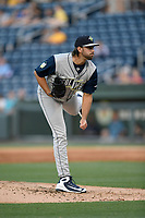 Starting pitcher David Peterson (30) of the Columbia Fireflies, a 2017 1st Round draft pick, made his Class A debut in a game against the Greenville Drive on Wednesday, April 18, 2018, at Fluor Field at the West End in Greenville, South Carolina. Columbia won 8-4. (Tom Priddy/Four Seam Images)