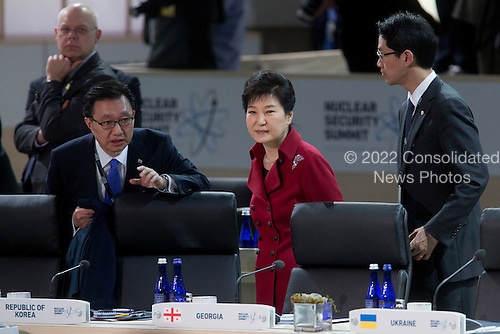 Park Geun Hye, South Korea's president, attends a closing session at the Nuclear Security Summit in Washington, D.C., U.S., on Friday, April 1, 2016. After a spate of terrorist attacks from Europe to Africa, U.S. President Barack Obama is rallying international support during the summit for an effort to keep Islamic State and similar groups from obtaining nuclear material and other weapons of mass destruction. <br /> Credit: Andrew Harrer / Pool via CNP