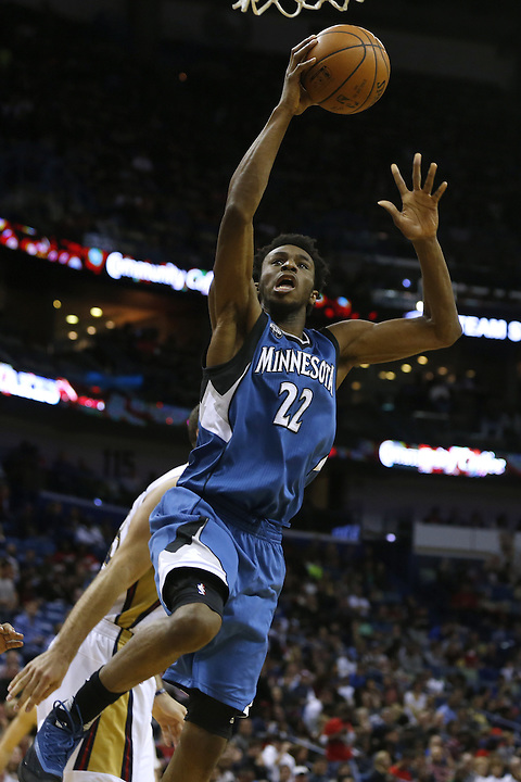Minnesota Timberwolves guard Andrew Wiggins (22) shoots the ball during the second half of an NBA basketball game Saturday, Feb. 27, 2016, in New Orleans. The Timberwolves won 112-110. (AP Photo/Jonathan Bachman)
