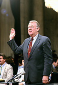United States Attorney General Edwin Meese, III is sworn-in to testify before the US House Select Committee to Investigate Covert Arms Transactions with Iran / US Senate Select Committee on Secret Military Assistance to Iran and the Nicaraguan Opposition (Iran/Contra Committee) on Capitol Hill in Washington, DC on July 28, 1987.<br /> Credit: Ron Sachs / CNP