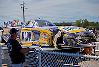 Sep 4, 2016; Clermont, IN, USA; Detailed view of damage to the car of NHRA funny car driver Ron Capps after crashing during qualifying for the US Nationals at Lucas Oil Raceway. Mandatory Credit: Mark J. Rebilas-USA TODAY Sports