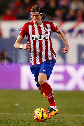21.02.2016. Madrid, Spain.  Filipe Luis Kasmirski (3) Atletico de Madrid La Liga football match between Atletico de Madrid and Villerreal CF at the Vicente Calderon stadium in Madrid, Spain, February 21, 2016 .
