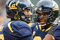 Keenan Allen of California celebrates with Anthony Miller of California after Miller scored a touchdown during the game against Washington State at AT&T Park in San Francisco, California on November 5th, 2011.  California defeated Washington State, 30-7.