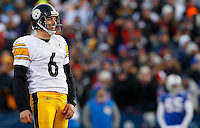 ORCHARD PARK, NY - NOVEMBER 28:  Shaun Suisham #6 of the Pittsburgh Steelers laughs after kicking a field goal against the Buffalo Bills during the game on November 28, 2010 at Ralph Wilson Stadium in Orchard Park, New York.  (Photo by Jared Wickerham/Getty Images)