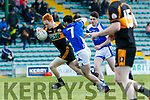 Stacks Captain Shane O'Callaghan gets away from O'Rahilly's Cormac Coffey at the Senior Football Championship Relegation playoff Round1 Austin Stacks V Kerins O'Rahillys at Austin Stack Park on Sunday
