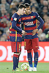 FC Barcelona's Leo Messi (l) and Neymar Jr during La Liga match. April 2,2016. (ALTERPHOTOS/Acero)