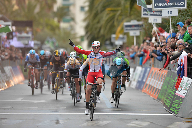 Alexander Krisoff (NOR) Katusha wins the 105th Milano-Sanremo 2014 this afternoon. Kristoff beat Fabian Cancellara (SUI) Trek Factory Racing and Ben Swift (GBR) Sky Procycling, Sanremo, Italy. 23rd March 2014.     <br /> Photo: Gian Mattia D'Alberto/LaPresse/www.newsfile.ie