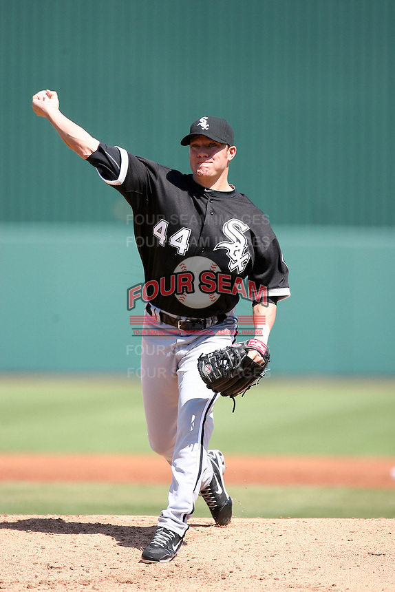 Jake Peavy, Chicago White Sox, pitching in his first  Cactus League game against the Los Angeles Angels at Diablo Stadium, Tempe, AZ - 03/12/2010..Photo by:  Bill Mitchell/Four Seam Images.