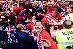 Antoine Griezmann of Atletico de Madrid joins teammate #9 Fernando Torres of Atletico de Madrid who is celebrating his score with the fans during the La Liga match between Atletico Madrid and Eibar at Wanda Metropolitano Stadium on May 20, 2018 in Madrid, Spain. Photo by Diego Souto / Power Sport Images