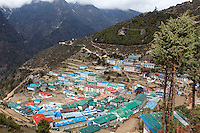 The vilage of Namche Bazaar, a major stopping point on the trail to Everest Base Camp in the Himalayan Mountains of Nepal.