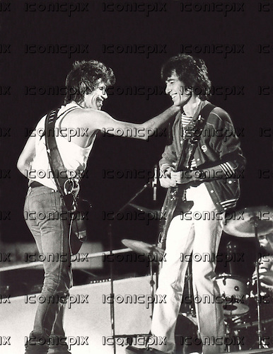 ROLLING STONES - Keith Richards and Bill Wyman performing live on the opening night of their European Tour at the Feyenoord Stadium in Rotterdam Netherlands - 02 June 1982.  Photo credit: Aad Spanjaard/MMMedia/IconicPix