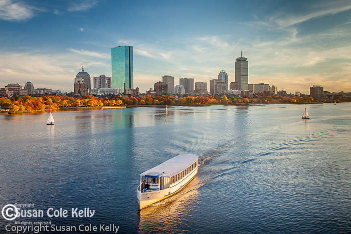 Sunset over the Back Bay skyline and the Charles River in Boston, MA