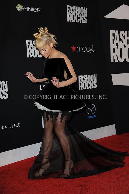 WWW.ACEPIXS.COM<br /> September 9, 2014 New York City<br /> <br /> Rita Ora attending Fashion Rocks 2014 at the Barclays Center on September 9, 2014 in New York City.<br /> <br /> Please byline: Kristin Callahan/AcePictures<br /> <br /> ACEPIXS.COM<br /> <br /> Tel: (212) 243 8787 or (646) 769 0430<br /> e-mail: info@acepixs.com<br /> web: http://www.acepixs.com