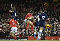 Wales' Leigh Halfpenny catches the high ball <br /> <br /> Photographer Ian Cook/CameraSport<br /> <br /> Under Armour Series Autumn Internationals - Wales v Scotland - Saturday 3rd November 2018 - Principality Stadium - Cardiff<br /> <br /> World Copyright © 2018 CameraSport. All rights reserved. 43 Linden Ave. Countesthorpe. Leicester. England. LE8 5PG - Tel: +44 (0) 116 277 4147 - admin@camerasport.com - www.camerasport.com