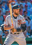 7 August 2016: San Francisco Giants right fielder Hunter Pence, sporting a black eye from the previous day, pinch hits in the 9th inning and was the final out of the game against the Washington Nationals at Nationals Park in Washington, DC. The Nationals shut out the Giants 1-0 to take the rubber match of their 3-game series. Mandatory Credit: Ed Wolfstein Photo *** RAW (NEF) Image File Available ***