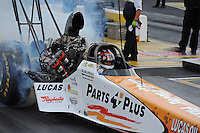 May 14, 2011; Commerce, GA, USA: NHRA top fuel dragster driver Clay Millican during qualifying for the Southern Nationals at Atlanta Dragway. Mandatory Credit: Mark J. Rebilas-