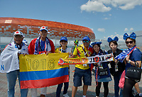 SARANSK - RUSIA, 19-06-2018: Hinchas de Colombia Y Japón animan a su equipo previo al partido de la primera fase, Grupo H, entre Colombia y Japón por la Copa Mundial de la FIFA Rusia 2018 jugado en el estadio Mordovia Arena en Saransk, Rusia. / Fans of Colombia and Japan cheer for their team prior the match between Colombia and Japan of the first phase, Group H, for the FIFA World Cup Russia 2018 played at Mordovia Arena stadium in Saransk, Russia. Photo: VizzorImage / Cont