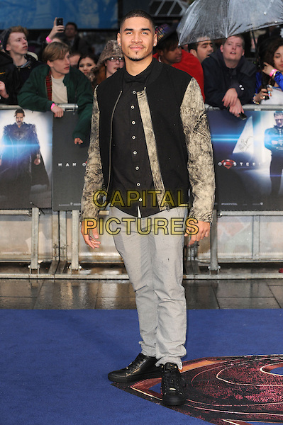 Louis Smith<br /> 'Man Of Steel' UK film premiere, Empire cinema, Leicester Square, London, England.<br /> 12th June 2013<br /> full length  black jacket sleeves tie dye grey gray trousers<br /> CAP/BEL<br /> &copy;Tom Belcher/Capital Pictures