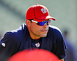 22 July 2011: Washington Nationals catcher Ivan Rodriguez stretches out up prior to a game against the Los Angeles Dodgers at Dodger Stadium in Los Angeles, California. The Nationals defeated the Dodgers 7-2 in their first meeting of the 2011 season. Mandatory Credit: Ed Wolfstein Photo