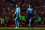 Arsenal's Granit Xhaka (L) and Laurent Koscielny react after Liverpool's third goal during the premier league match at Anfield Stadium, Liverpool. Picture date 27th August 2017. Picture credit should read: Paul Thomas/Sportimage