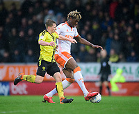Blackpool's Armand Gnanduillet vies for possession with Burton Albion's Jamie Allen<br /> <br /> Photographer Chris Vaughan/CameraSport<br /> <br /> The EFL Sky Bet League One - Burton Albion v Blackpool - Saturday 16th March 2019 - Pirelli Stadium - Burton upon Trent<br /> <br /> World Copyright &copy; 2019 CameraSport. All rights reserved. 43 Linden Ave. Countesthorpe. Leicester. England. LE8 5PG - Tel: +44 (0) 116 277 4147 - admin@camerasport.com - www.camerasport.com