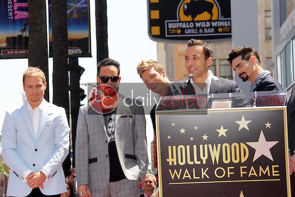 "Brian Littrell, AJ McLean, Nick Carter, Howie Dorough, Kevin Richardson<br /> at the ""Backstreet Boys"" Star on the Walk of Fame, Hollywood, CA 04-22-13<br /> David Edwards/Dailyceleb.com 818-249-4998"