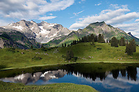 Austria, Vorarlberg, near Schroecken: Lake Koerber south-east of Hochtannberg passroad with Braunarlspitze mountain