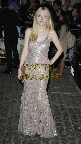 Dakota Fanning.'Now Is Good' - European Premiere arrivals, Curzon Mayfair Cinema, London, England..13th September, 2012.full length beige silver sequins sequined dress sleeveless hand on hip clutch bag.CAP/CAN.©Can Nguyen/Capital Pictures.