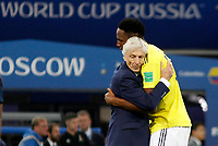 MOSCU - RUSIA, 03-07-2018: Jose PEKERMAN, técnico y Yerry MINA jugador de Colombia lucen decepcionados después del partido de octavos de final entre Colombia y Inglaterra por la Copa Mundial de la FIFA Rusia 2018 jugado en el estadio del Spartak en Moscú, Rusia. / Jose PEKERMAN, coach, and Yerry MINA player of Colombia look disappointed after the match between Colombia and England of the round of 16 for the FIFA World Cup Russia 2018 played at Spartak stadium in Moscow, Russia. Photo: VizzorImage / Julian Medina / Cont