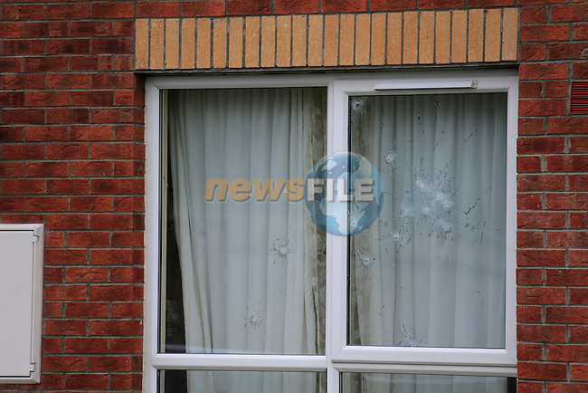 Up to 15 shots fired throughout he front window of a house in Knockbrack Close on the outskirts of Drogheda, A car was later found burnt out near the Irish Cement factory at Platin.<br /> Picture Fran Caffrey www.newsile.ie
