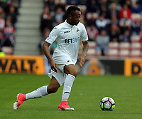 Jordan Ayew of Swansea City in action during the Premier League match between Sunderland and Swansea City at the Stadium of Light, Sunderland, England, UK. Saturday 13 May 2017