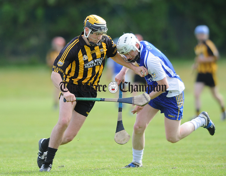 Niall Deasy of Ballyea in action against Noel Casey of Kilmaley during their Clare Champion Cup game at Clarecastle. Photograph by John Kelly.