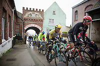 Jurgen Roelandts (BEL/Lotto-Soudal) & Tom Leezer (NLD/LottoNL-Jumbo) for a 2nd run back into Cassel<br /> <br /> 77th Gent-Wevelgem 2015