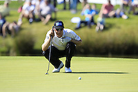 Mikko Ilonen (FIN) lines up his putt on the 18th green during Friday's Round 2 of the 2014 Irish Open held at Fota Island Resort, Cork, Ireland. 20th June 2014.<br /> Picture: Eoin Clarke www.golffile.ie