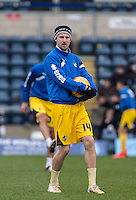 Chris Lines of Bristol Rovers during warm up during the Sky Bet League 2 match between Wycombe Wanderers and Bristol Rovers at Adams Park, High Wycombe, England on 27 February 2016. Photo by Andy Rowland.