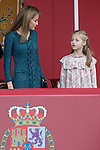 Princess Leonor of Spain (r) and Queen Letizia of Spain attend Spain's National Day Military Parade. October 12 ,2014. (ALTERPHOTOS/Pool)