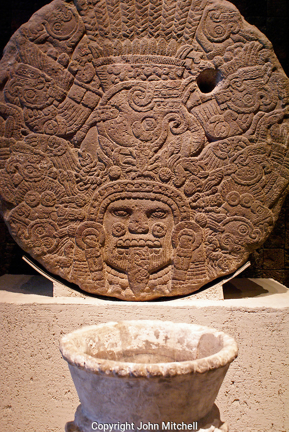 Aztec sculpture in the Sala Mexica, National Museum of Anthropology, Chapultepec Park, Mexico City