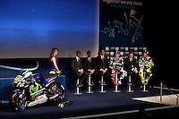 Movistar Yamaha MotoGP host 2015 team launch in Madrid. In the pic: Jorge Lorenzo and Valentino Rossi. January 28, 2015. (ALTERPHOTOS/Caro Marin) /nortephoto.com<br /> nortephoto.com
