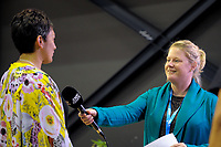 Skysport's Rikki Swannell interviews Pulse coach Yvette McCausland-Durie before the ANZ Premiership netball match between the Central Pulse and Mainland Tactix at TSB Bank Arena in Wellington, New Zealand on Monday, 14 May 2018. Photo: Dave Lintott / lintottphoto.co.nz