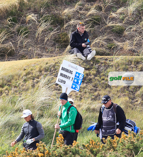 TJ Caffrey (Golffile) on the 9th tee during Round 1 of the 2015 Dubai Duty Free Irish Open, Royal County Down Golf Club, Newcastle Co Down, Northern Ireland. 28/05/2015<br /> Picture Thos Caffrey, www.golffile.ie