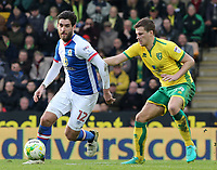 Blackburn Rovers' Danny Graham tries to get away from Norwich City's Wesley Hoolahan<br /> <br /> Photographer David Shipman/CameraSport<br /> <br /> The EFL Sky Bet Championship - Norwich City v Blackburn Rovers - Saturday 11th March 2017 - Carrow Road - Norwich<br /> <br /> World Copyright &copy; 2017 CameraSport. All rights reserved. 43 Linden Ave. Countesthorpe. Leicester. England. LE8 5PG - Tel: +44 (0) 116 277 4147 - admin@camerasport.com - www.camerasport.com
