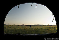 Looking out from a wild turkey hunting blind
