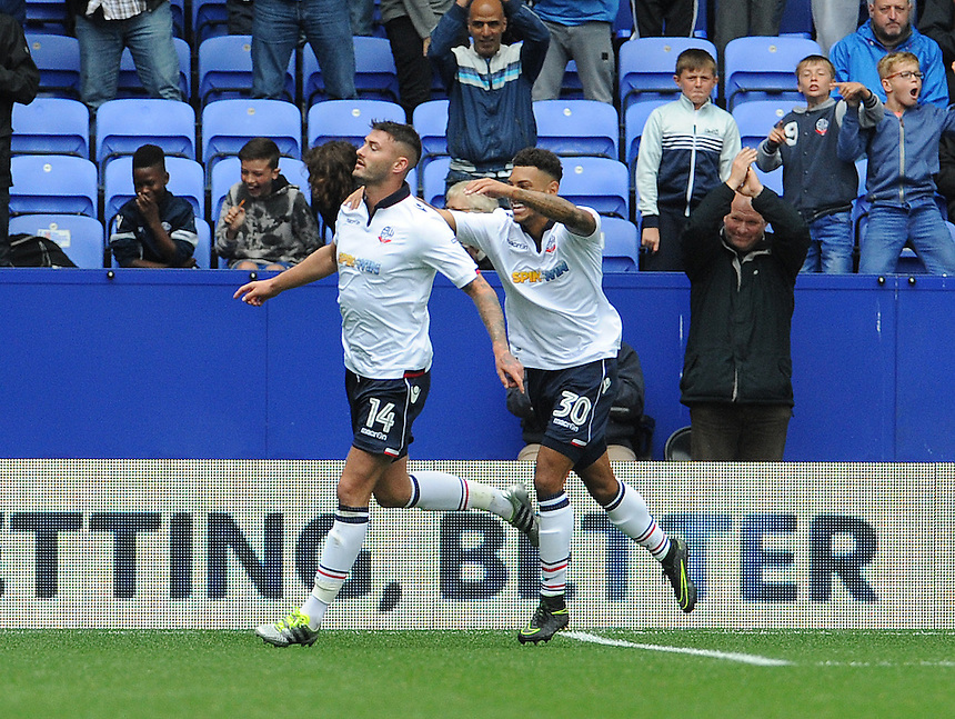 Bolton Wanderers's Gary Madine celebrates scoring his sides equalising goal to make the score 1-1 with team-mate Kaiyne Woolery<br /> <br /> Photographer Ian Cook/CameraSport<br /> <br /> Football - The EFL Sky Bet League One - Bolton Wanderers v Fleetwood Town - Saturday 20 August 2016 - Macron Stadium - Bolton<br /> <br /> World Copyright &copy; 2016 CameraSport. All rights reserved. 43 Linden Ave. Countesthorpe. Leicester. England. LE8 5PG - Tel: +44 (0) 116 277 4147 - admin@camerasport.com - www.camerasport.com