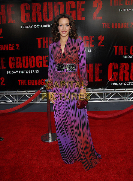 "JENNIFER BEALS.attends The Columbia Pictures World Premiere of .""The Grudge 2"" held at Knott's Scary Farm in Buena Park, California, USA, October 8th 2006.                                                                       .full length purple and red print patterned dress waist black belt long sleeves tiger print.Ref: DVS.www.capitalpictures.com.sales@capitalpictures.com.©Debbie VanStory/Capital Pictures"