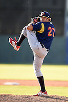 State College Spikes pitcher Jeff Rauh (27) delivers a pitch during a game against the Batavia Muckdogs on June 22, 2014 at Dwyer Stadium in Batavia, New York.  State College defeated Batavia 10-3.  (Mike Janes/Four Seam Images)