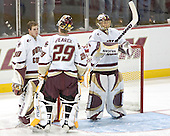 Adam Reasoner, Joe Pearce and Cory Schneider  The Boston College Eagles defeated the Providence College Friars 3-2 in regulation on October 29, 2005 at Kelley Rink in Conte Forum in Chestnut Hill, MA.  It was BC's first Hockey East win of the season and Providence's first HE loss.
