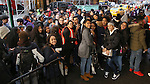 Students arrive before the Gilder Lehman Institute of American History Education Matinee of 'Hamilton' at the Richard Rodgers  Theatre on December 15, 2016 in New York City.