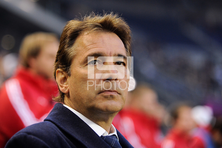 Chicago Fire head coach Carlos de los Cobos prior to the first half of a Major League Soccer match between the New York Red Bulls and the Chicago Fire at Red Bull Arena in Harrison, NJ, on March 27, 2010. The Red Bulls defeated the Fire 1-0.